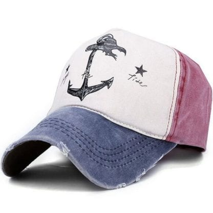 Anchor Print Patchwork Style Baseball Cap 1