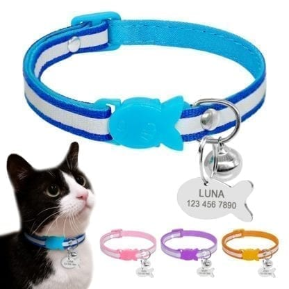 Cat's Fish Buckle Striped Collar 1