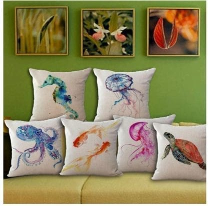 Watercolor Sea World Print Cushion Cover 1