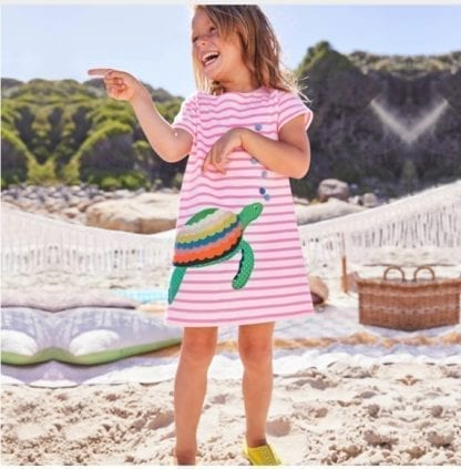 Girl's Mermaid / Turtle Patchwork Style Dress 1