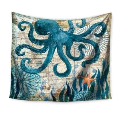 Vintage Style Sea Print Wall Tapestry 1