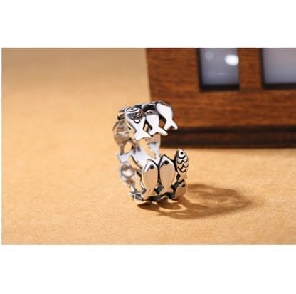 Women's Little Fishes 925 Sterling Silver Ring 4
