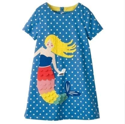 Girl's Mermaid / Turtle Patchwork Style Dress 4