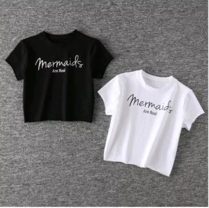 Women's Mermaids Are Real Cotton Crop Top 1