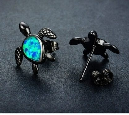Women's Blue Fire Opal Turtle Stud Earrings 2