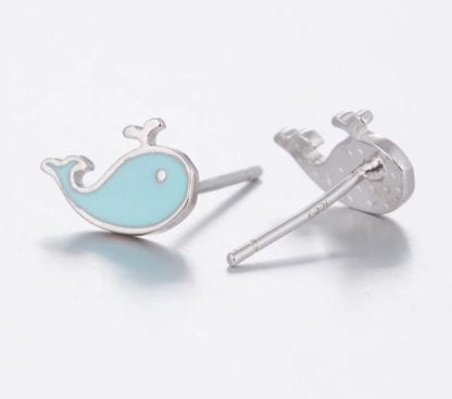 Women's Blue Whale Stud Earrings 2