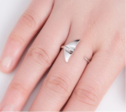 Women's Silver Whale Tail Ring 2