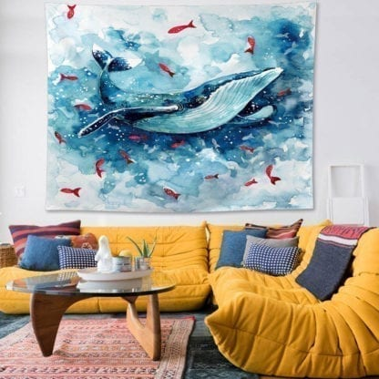 Whale Print Wall Tapestry 1