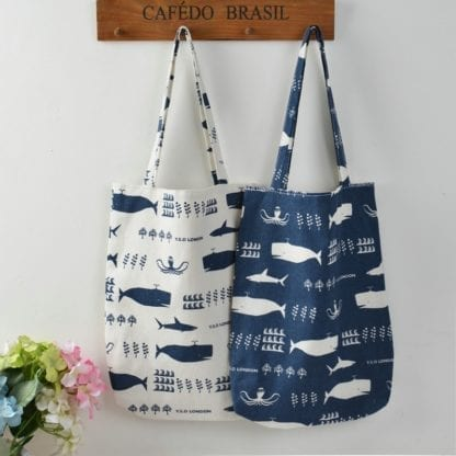 Whale Print Cotton Beach Bag 1