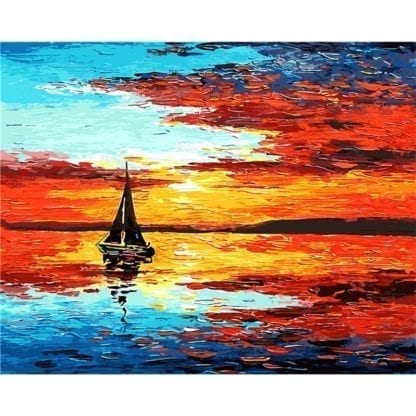 Flame Sunset Sea Painting by Numbers 1