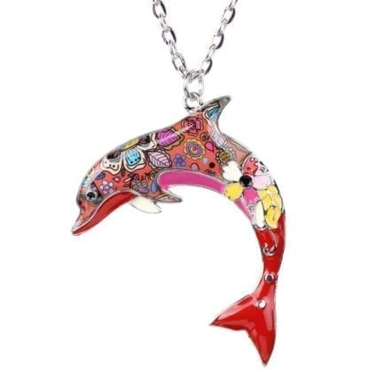Floral Pattern Enamel Dolphin Necklace 1