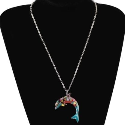 Floral Pattern Enamel Dolphin Necklace 2
