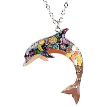 Floral Pattern Enamel Dolphin Necklace 5