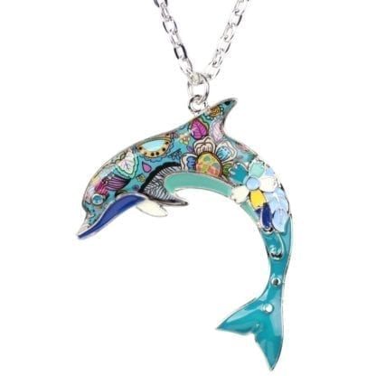 Floral Pattern Enamel Dolphin Necklace 3