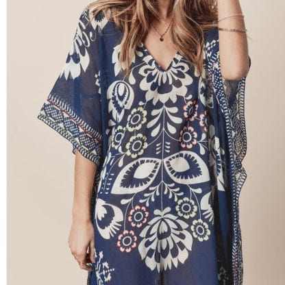 Women's Boho Print Chiffon Beach Cover Up 2