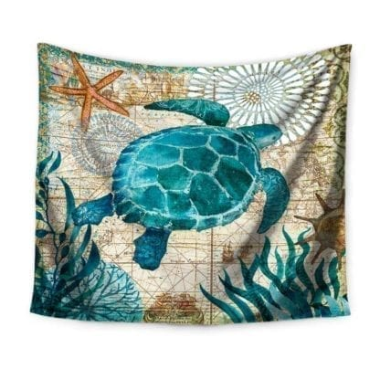 Vintage Style Sea Print Wall Tapestry 2