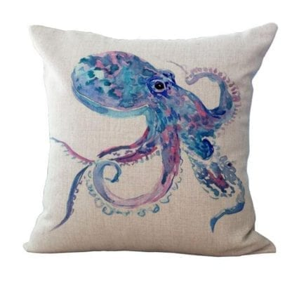 Watercolor Sea World Print Cushion Cover 2