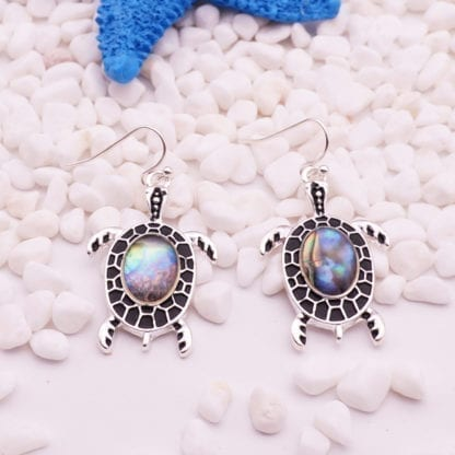 Women's Sea Shell Turtle Drop Earrings 3