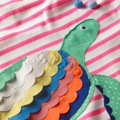 Girl's Mermaid / Turtle Patchwork Style Dress 3