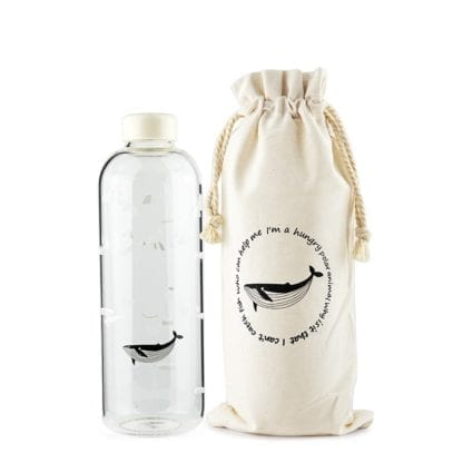Seal / Whale Glass Water Bottle with Sleeve 4