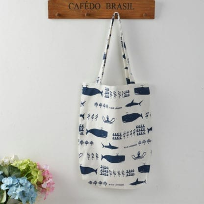 Whale Print Cotton Beach Bag 2