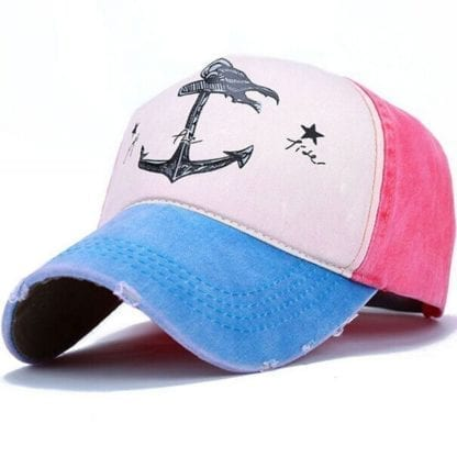 Anchor Print Patchwork Style Baseball Cap 2