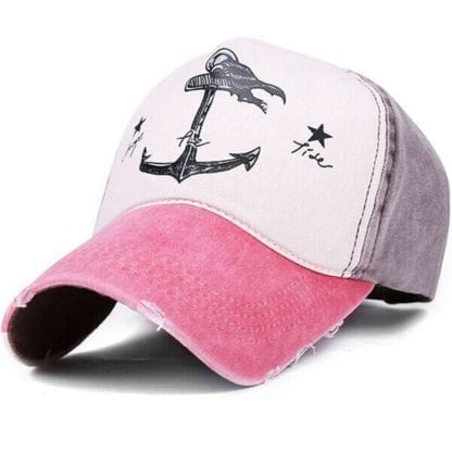 Anchor Print Patchwork Style Baseball Cap 5