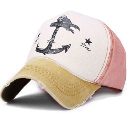 Anchor Print Patchwork Style Baseball Cap 4