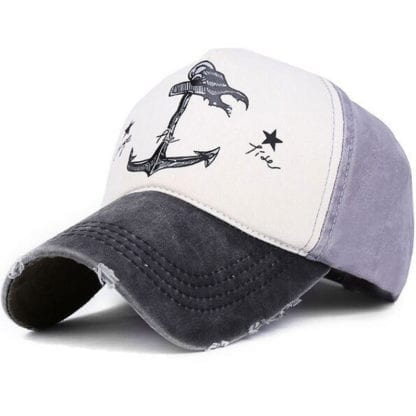 Anchor Print Patchwork Style Baseball Cap 3