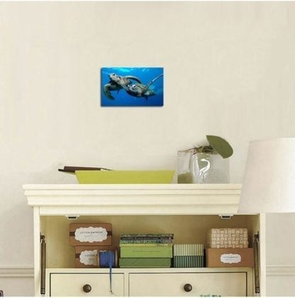Canvas Print Painting Two Sea Turtles Under Sea Picture 2