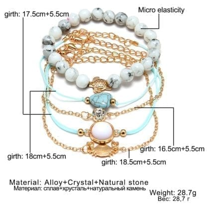 Turtle Crab Crystal Bracelet Set for Women 2