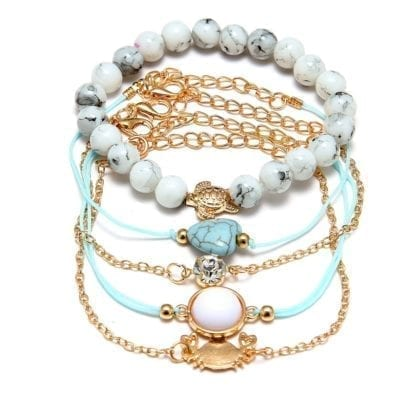 Turtle Crab Crystal Bracelet Set for Women 5