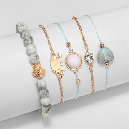 Turtle Crab Crystal Bracelet Set for Women 6