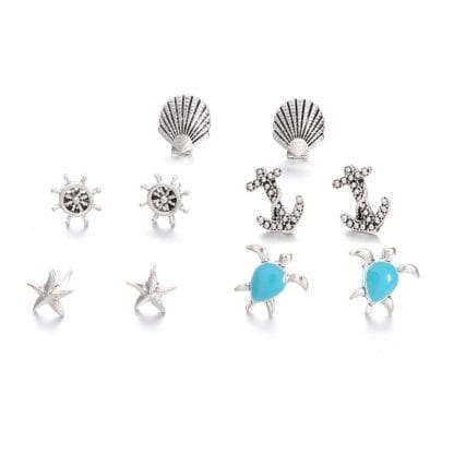5 Pairs Shell Starfish Ships Wheel Anchor Turtle Stud Earrings 2