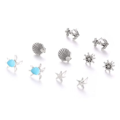 5 Pairs Shell Starfish Ships Wheel Anchor Turtle Stud Earrings 1